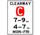 Image of a clearway sign C sign - clearways improve traffic flow and are tow away zones.