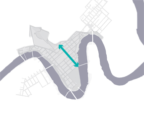 Abstract map of the Brisbane CBD with Edward Street marked.