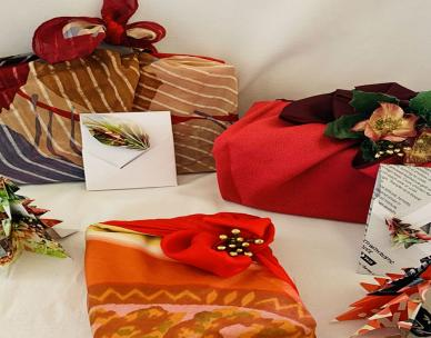 Low waste Christmas - Furoshiki gift wrapping and origami decorations