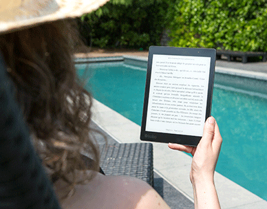 Tablet by the pool
