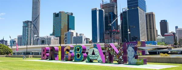 Brisbane sign and cityscape viewed from Cultural Forecourt
