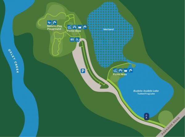 This map shows the location of parkland features for Stage 1 of Warril Parkland. After entering from Paradise Road, Budela-budela Lake is on the right with a picnic area at the top of the lake next to the wetland. The nature-play playground and picnic area are located at the end of the park road.