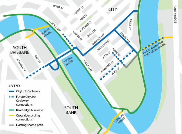 For alternative text of this map, download the CityLink Cycleway trial - project introduction newsletter - September 2020 document.
