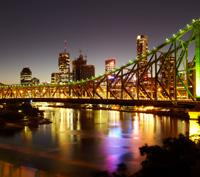 Story Bridge lit up at night